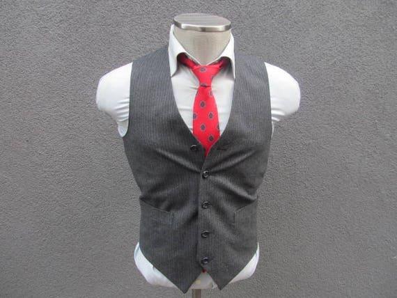 1980s Suit Vest / Gray Striped Vest / Wool Waistco