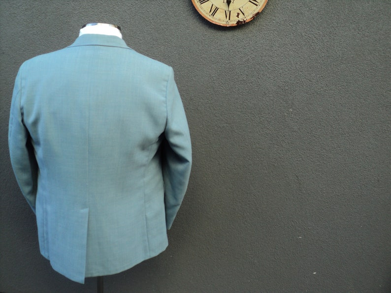 1980s HADDONFIELD Baby Blue Blazer  Size 44 Tall  Trad Ivy League Blazer 44 Long  3 Roll 2  Union Made in USA