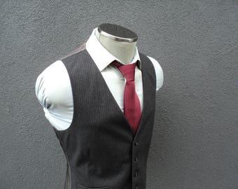 1980s Mens Vest / Gray Pinstripe Waistcoat / Wool Vest / 80s Vintage Striped Waistcoat / Wool Waistcoat Size 38 Medium / Med / M