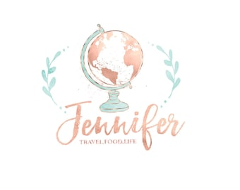 Mint Watercolor Globe Logo Travel Blog Gold World Map Business Design Hand Drawn