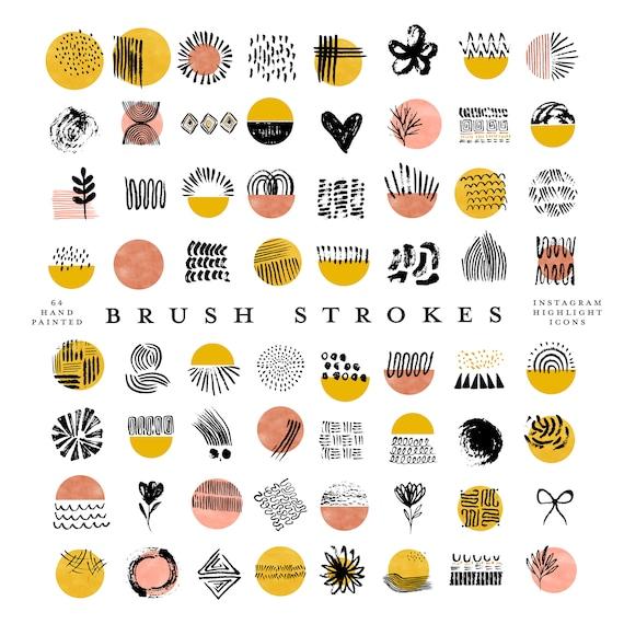 64 boho instagram story highlight icons marigold mustard yellow orange hand painted brush strokes watercolor circles clipart branding kit