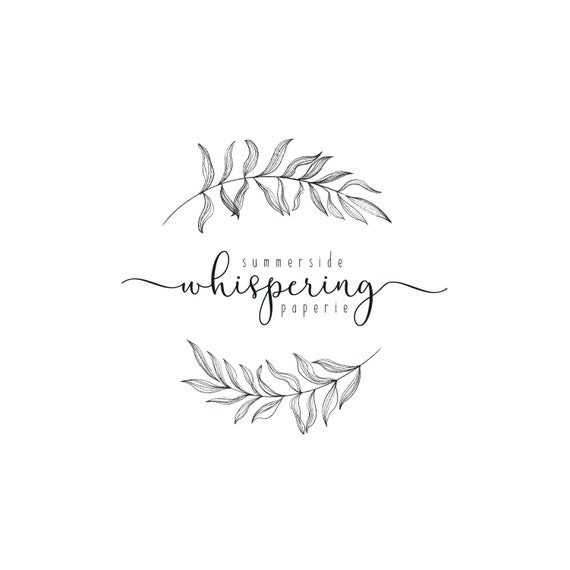 Elegant Botanical Leaf Black And White Logo Design Sketch Etsy