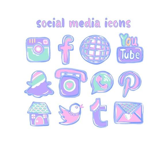 12 hand drawn social media icons pastel pink social media etsy
