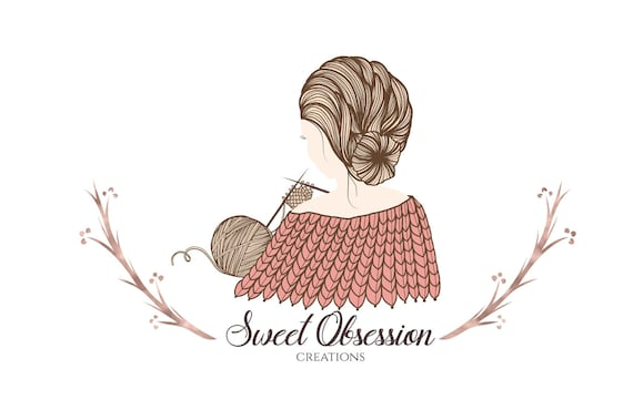 Premade Knitting Blog Logo Design Sewing Crochet Craft Yarn Etsy