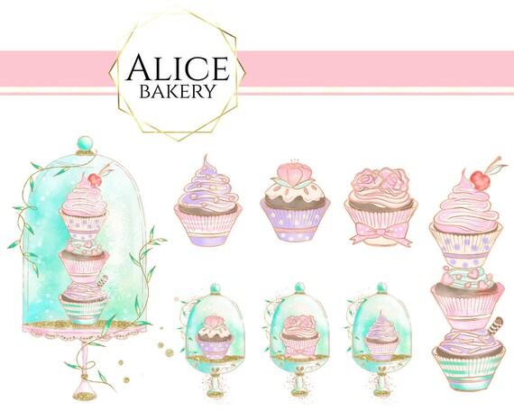 Aquarell Rosa Cupcake Clipart Minze Backerei Kuchen Stand Etsy
