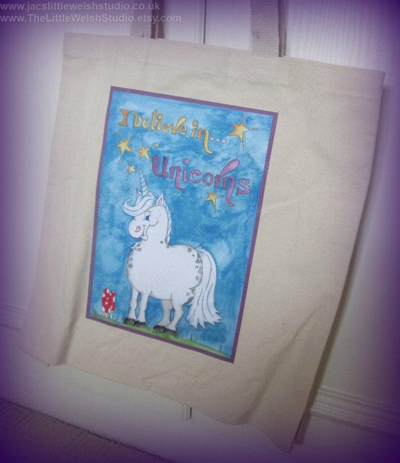 canvas bag tote bag reusable shopper Unicorn Gift I Believe in Unicorns Canvas Shopping Bag canvas shopper