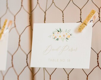 Water Color Floral Blush Pink Flowers Wedding Place Cards Escort Cards with Printed Guest Names and Table Number