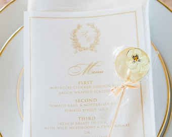 Vellum Wedding Menu in Metallic Gold with Formal Monogram, Transparent and Elegant - Other Colors Available