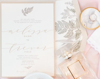 Greenery Branches Leaves Laurel Wedding Invitation in Gold, Green and Neutral Beige with RSVP, Envelope Liner, and Addressing - Other Colors