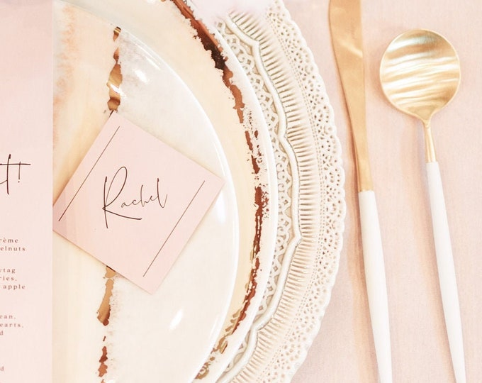Blush Pink Coral Modern Minimal Wedding Place Cards with Black Text and Calligraphy Script with Printed Guest Name— Different Colors!