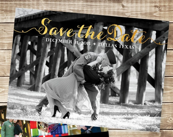 Photo Save the Date with Gold Glitter and Black Multiple Photos, Envelopes Included