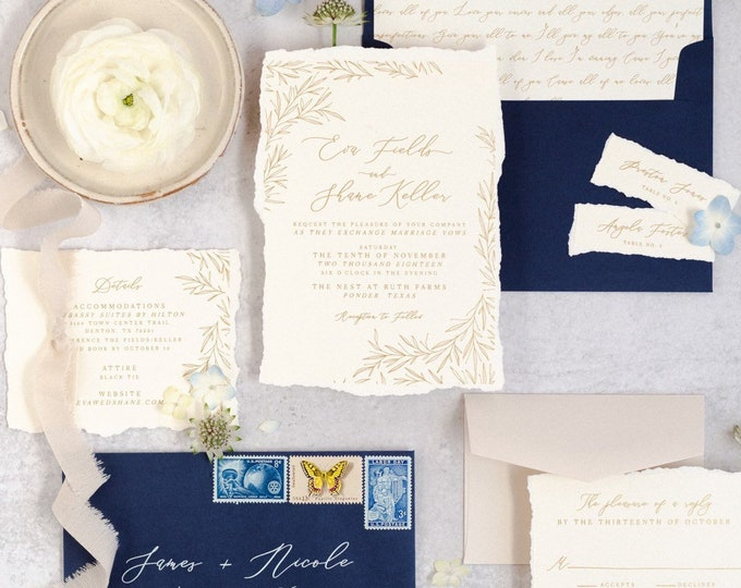 Fine Art Romantic Wedding Invitation, Torn Edges on White Linen in Gold Calligraphy and Delicate Hand Drawn Leaves, Ribbon & Wax Seal