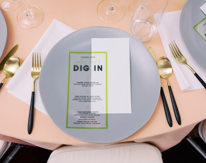 Modern Transparent Menu, Acrylic-Like with Minimalist Simple Design in Black and Green with Backer in Mint — Other Colors Available