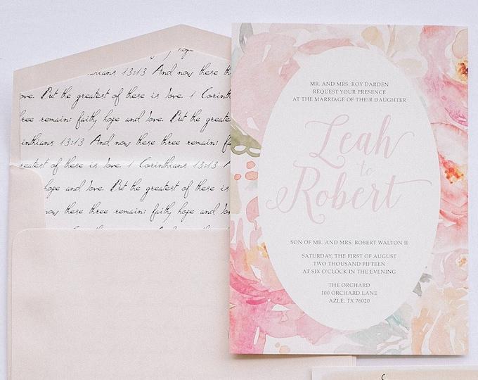 Pink Blush Water Color Floral Wedding Invitation with Details Insert, RSVP & Scripture Bible Verse Envelope Liner - Other Colors!