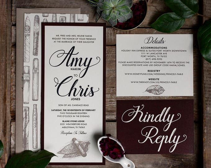 4x9 Cigar Tobacco Burgundy, Brown & Navy Wedding Invitation with Kraft Paper Envelope, RSVP, Return and Guest Address Printing