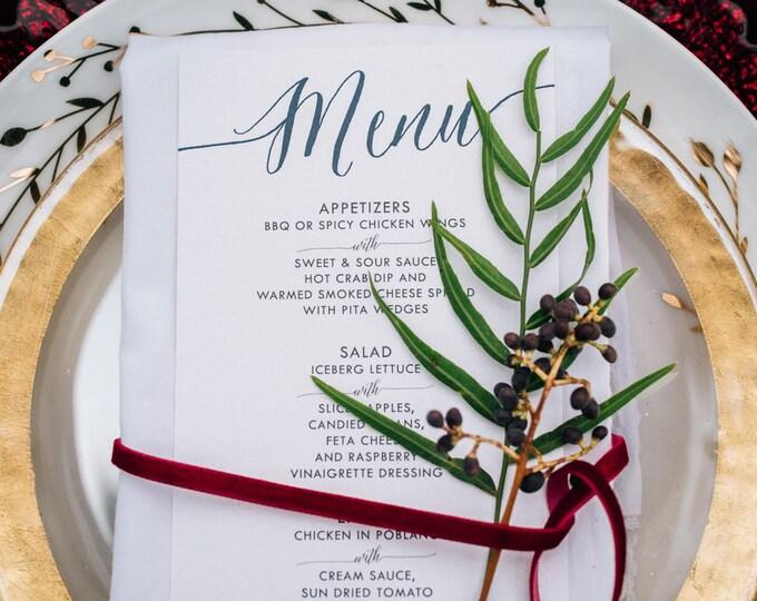 Modern Calligraphy Wedding Menu Featuring Fruit — Pomegranate, Blackberries and Strawberries, Printed Wedding Menu