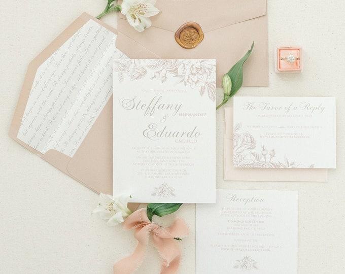 Vintage Floral Wedding Invitation in Blush & Champagne Gold with Script Envelope Liner, Details Insert and RSVP