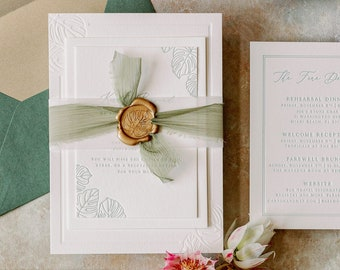 Destination Miami Wedding Invitation with Tropical Palm Leaves, Blind Deboss, Letterpress, Green Silk Ribbon, Gold Wax Seal & Addressing