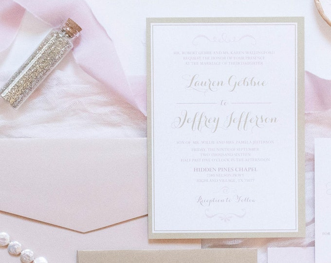 Light Pink Blush and Champagne Gold Modern Minimal Wedding Invitation Suite with & RSVP — Different Colors Available!