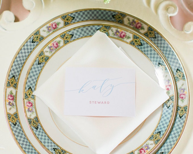 2.5x3.5 Blush Pink and Light Blue Calligraphy Wedding Place Cards with Printed Guest Names