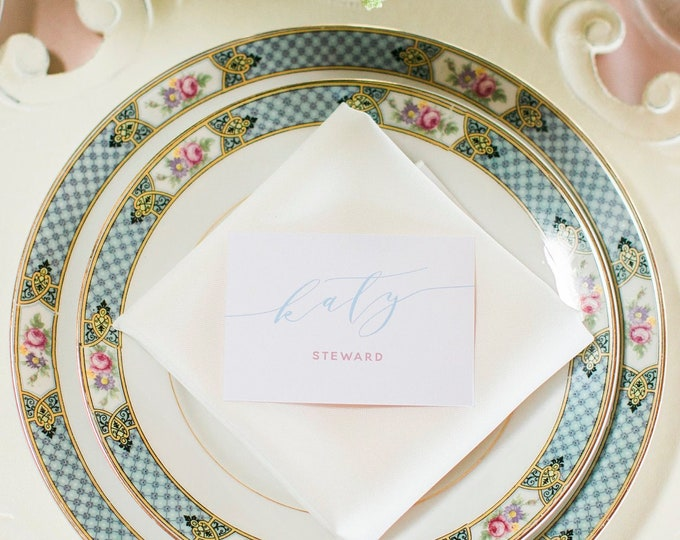 Blush Pink and Light Blue Calligraphy Wedding Place Cards Escort Cards with Printed Guest Names and Table Number - Other Colors Available!