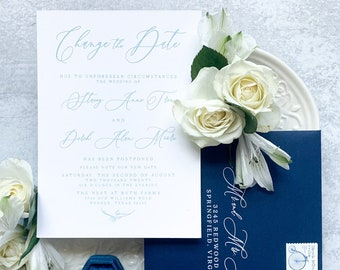 Pale Blue & Navy Wedding Change the Date Announcement with Calligraphy, Line Drawn Floral Detail with Envelope and Addressing - Other Colors