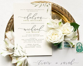 Wedding Announcement Change the Date with Greenery and Leaves, Calligraphy Script with Envelopes & Addressing - Other Colors Available