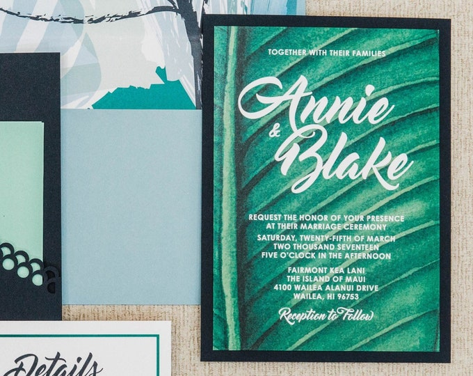 Pocket Tropical Palm Leaf Hawaiian Beach Wedding Invitation in Blue & Green — Includes Inserts and Envelope Liner