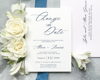 Change the Date for Wedding Postponement with Clean, Simple Design, Stylish Calligraphy in Navy Blue, Envelopes & Addressing - Other Colors