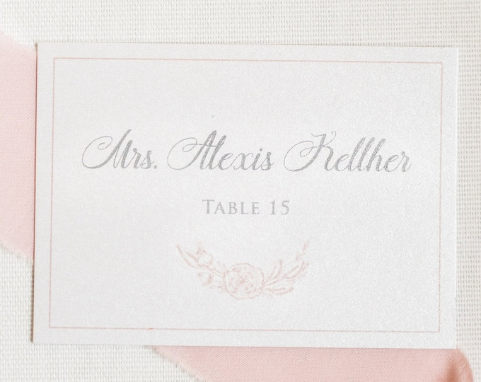Floral Wreath in Blush Pink and Grey Wedding Place Cards, Escort Cards with Printed Guest Names and Table Number - Other Colors!