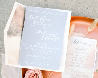Torn Edges White Modern Calligraphy Neutral Wedding Invitation in Grey, Ivory and Peach Envelope Liner & Address Printing — Other Colors
