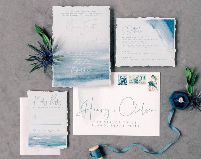 Shades of Blue Watercolor and Silver Wedding Invitation Suite with RSVP & Guest Addressing - Other Colors Available