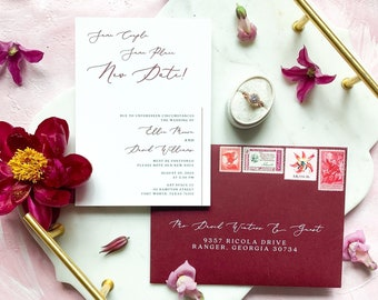 Burgundy Modern Calligraphy Script Change the Date Wedding Announcement with Envelope Guest Addressing - Other Colors Available!