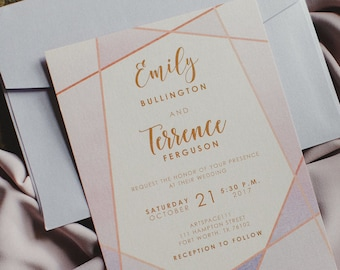 Artsy Rose Gold, Blush Pink & Purple Lavender Modern Geometric Water Color Wedding Invitation with Details and RSVP (Other Color Options)