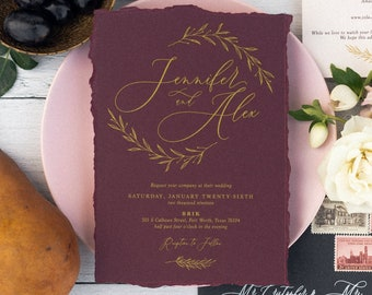 Deckled Edge Wedding Invitation in Burgundy, Wine, Marsala, Sangria and Gold Metallic with Calligraphy and Delicate Drawn Leaves & Branches