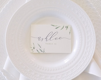 Greenery Leaves Wedding Place Cards for Place Setting in Green and Grey with Printed Guest Name —Different Colors Available!