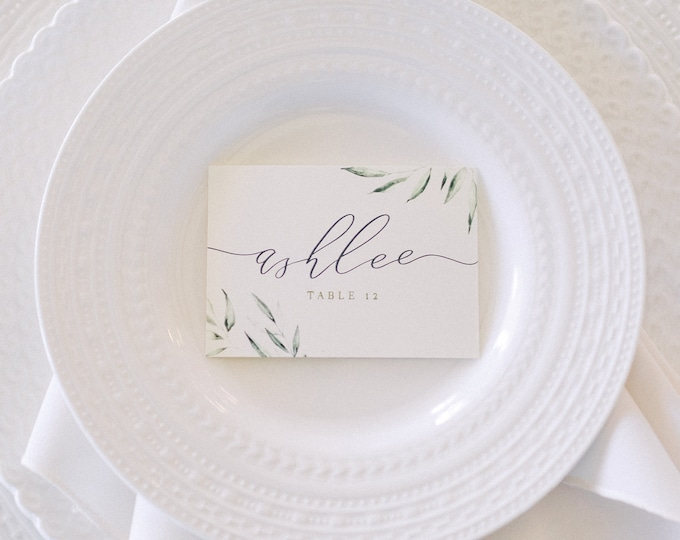 Greenery Leaves Wedding Place Cards for Place Setting in Green and Grey with Printed Guest Name — Different Colors Available!