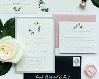 White Roses Monogram Wedding Invitation in Gray, Blush & Black with Belly Band, Wax Seal, Addressing in White Ink on Envelope - Other Colors