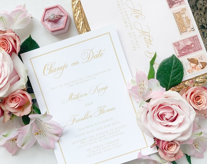 Formal Change the Date Wedding Invitation Announcement in Gold, White and Pale Pink with Envelope Addressing - Other Colors Available!
