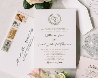 Gold Metallic Foil Press and Blush Wedding Invitation Featuring Branches Monogram Wreath, Timeless & Classic —Other Colors Available!