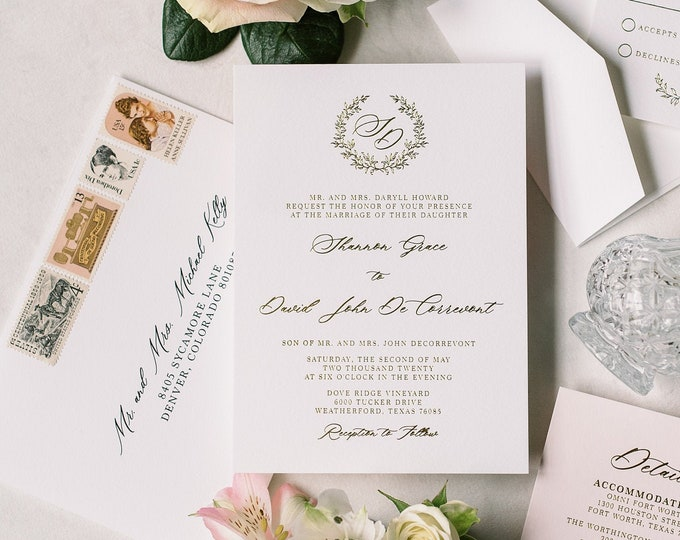 Gold Metallic Foil Press and Blush Wedding Invitation Featuring Branches Monogram Wreath, Timeless & Classic — Other Colors Available!