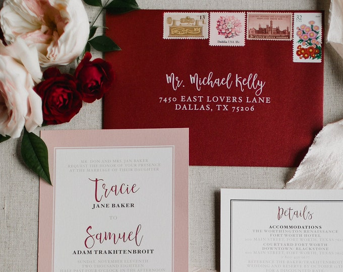 Burgundy and Blush Wedding Invitation Suite with Details Insert, RSVP, Touches of Floral & Guest Addressing - Other Colors Available