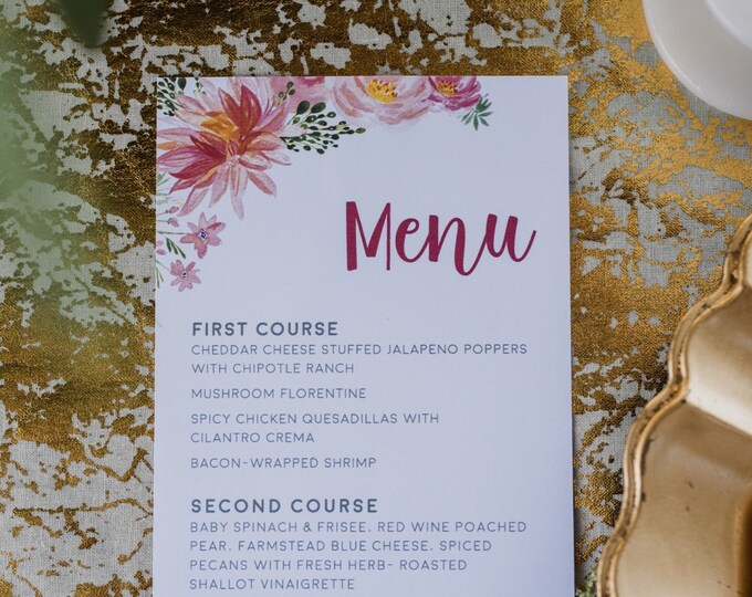 Blush Pink, Hot Pink Flowers Peonies and Floral Printed Wedding Menu - Other Colors Available!