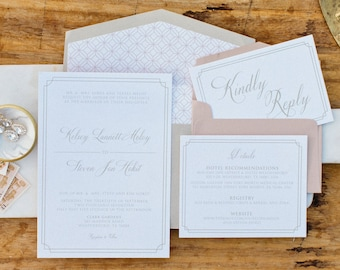 Classic Timeless Pink Blush and Champagne Gold Elegant Double Frame Wedding Invitation Suite with Envelope Liner & RSVP — Different Colors!