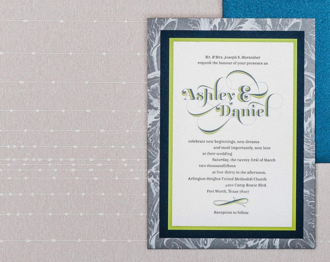 Silver, Grey & Navy Blue Wedding Invitation with Pocket and Bright Green Accents, Includes Inserts and Envelope — Different Colors