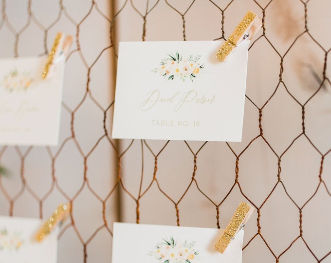 2.5x3.5 Water Color Floral Blush Pink Flowers Wedding Place Cards Escort Cards with Printed Guest Names