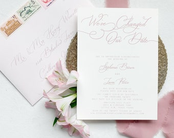 Blush Calligraphy Change our Date Wedding Announcement with Soft Pale Pink Envelope Guest Addressing - Other Colors Available!