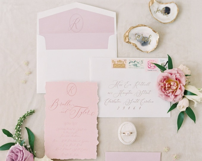 Southern, Oval Monogram Wedding Invitation with Calligraphy in Dusty Rose, Blush Pink — Custom Map, Envelope Liner, RSVP & Guest Printing