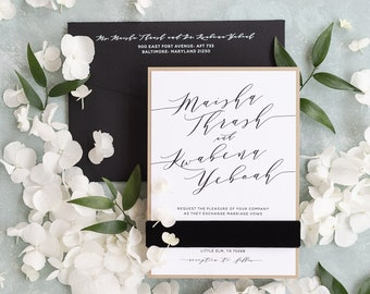 Simple Gold, Black & White Wedding Invitation with Velvet Belly Band, Modern Calligraphy and Addressing - Different Color Options