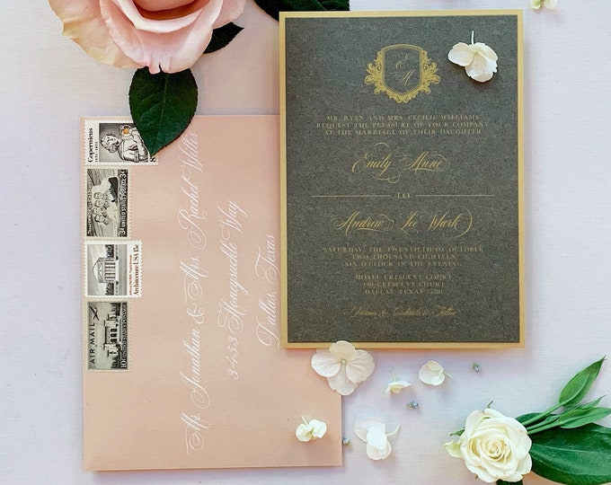 Modern Elegance Formal Charcoal Gray, Gold and Pink Blush Layered Monogram Crest Wedding Invitation, Envelope Liner & Inserts — Other Colors